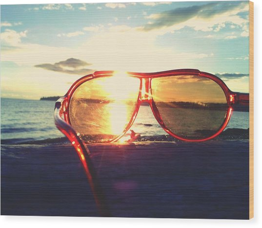 Sunglasses On Beach During Sunset Wood Print by Ashley Stone / Eyeem