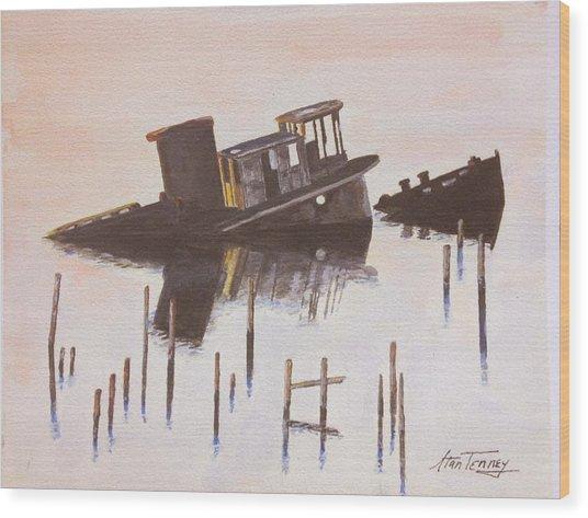 Sunken Boat Wood Print