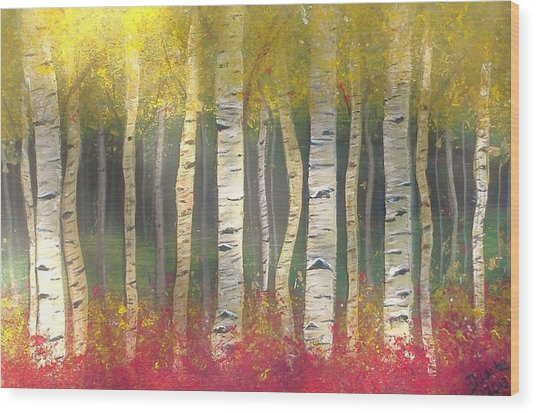 Sunlight On Aspens Wood Print