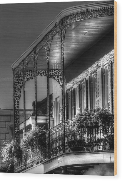 Sunlight On New Orleans Balcony Wood Print