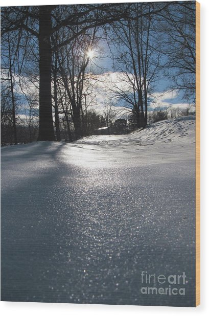 Sunlight On Snow Wood Print