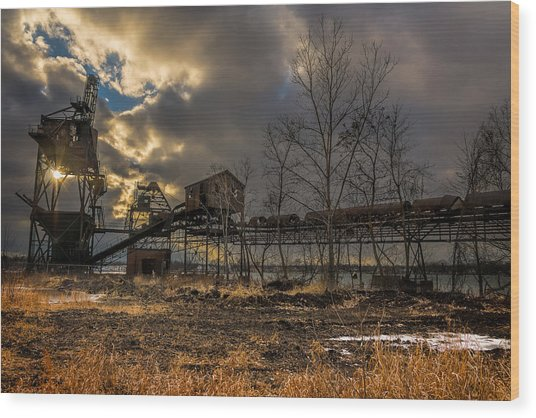 Sunlight Through A Coal Loader Wood Print