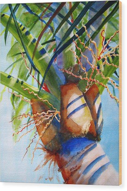 Sunlit Palm Wood Print