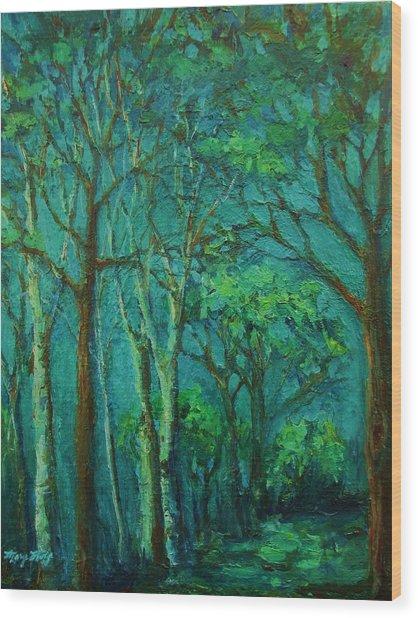 Sunlit Woodland Path Wood Print
