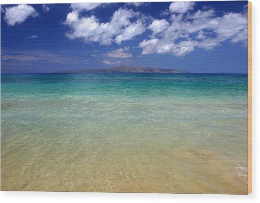 Sunny Blue Beach Makena Maui Hawaii Wood Print