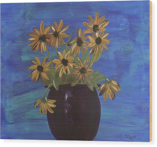 Sunny Day Sunflowers Wood Print