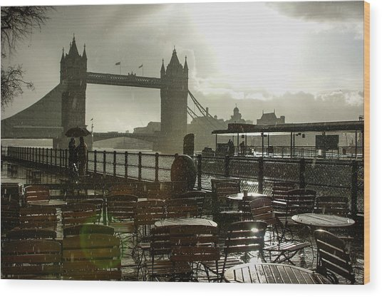 Sunny Rainstorm In London England Wood Print