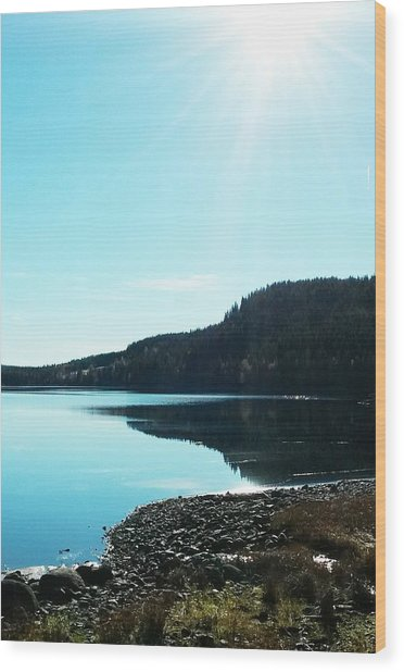 Sunny Sky By The Lake Wood Print