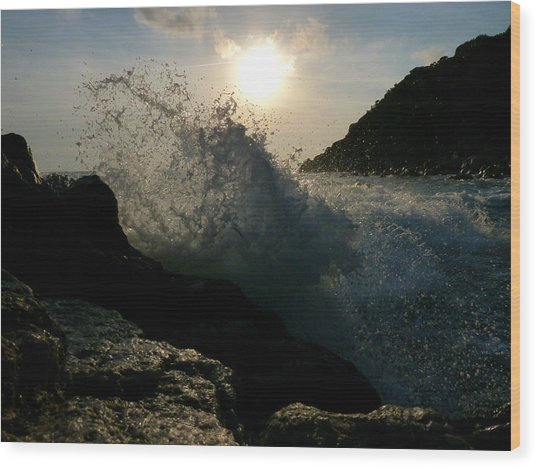 Sunny Wave Wood Print by Alessio Casula