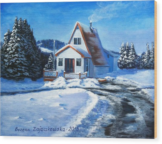 Sunny Winter Day By The Cabin Wood Print