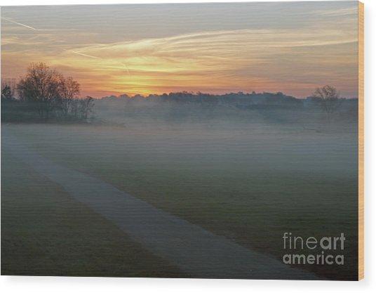 Sunrise Across The Fog Path Wood Print