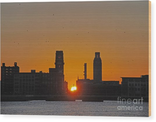 Sunrise And The City Wood Print