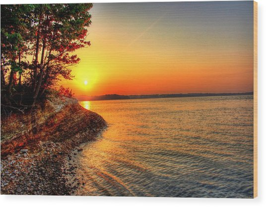 Sunrise Around The Bend Wood Print