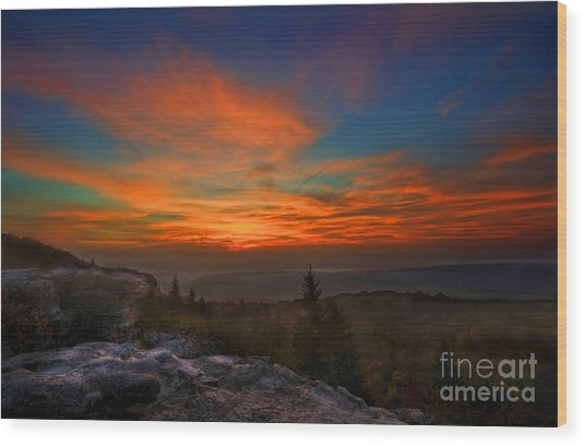 Sunrise At Bear Rocks In Dolly Sods Wood Print