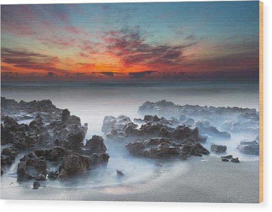Sunrise At Blowing Rocks Preserve Wood Print