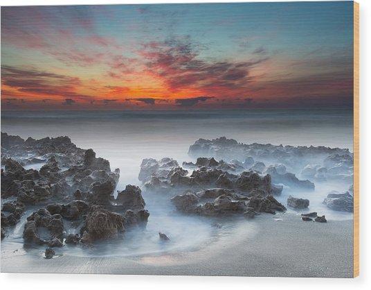 Sunrise At Blowing Rocks Preserve Wood Print