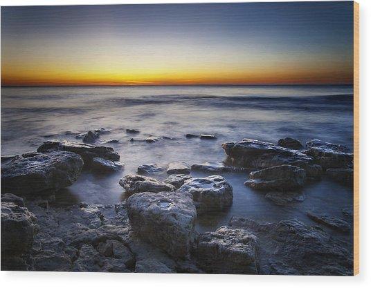 Sunrise At Cave Point Wood Print