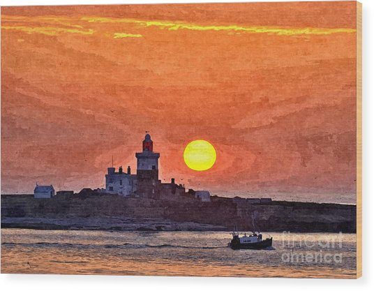 Sunrise At Coquet Island Northumberland - Photo Art Wood Print
