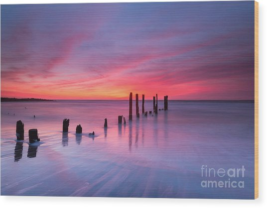 Sunrise At Deal Nj Wood Print