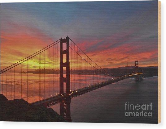 Sunrise Over The Golden Gate Bridge  Wood Print