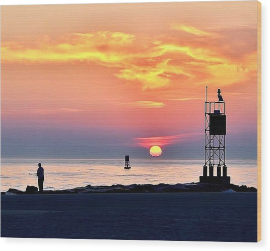 Sunrise At Indian River Inlet Wood Print