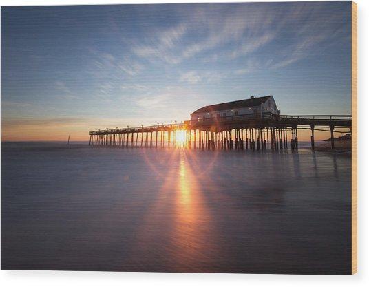 Sunrise At Kitty Hawk Pier Wood Print