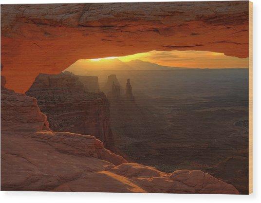 Sunrise At Mesa Arch 2 Wood Print