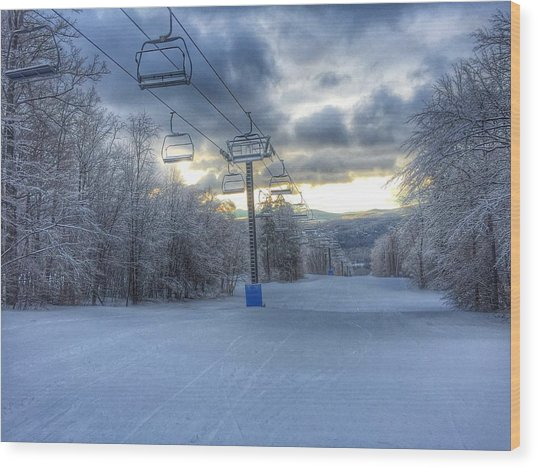 Sunrise At Okemo Mountain Wood Print