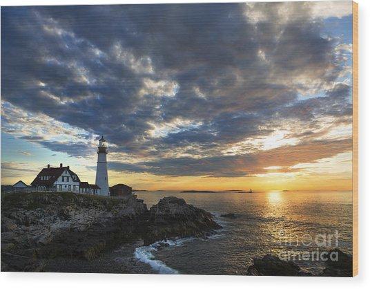 Sunrise At Portland Head Light Wood Print
