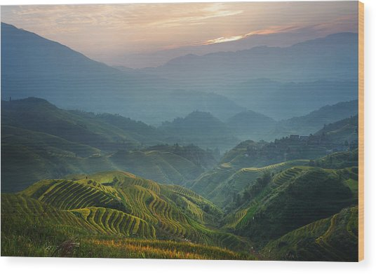 Sunrise At Terrace In Guangxi China 8 Wood Print