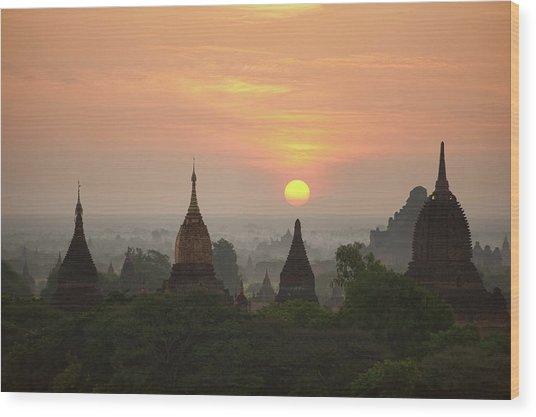 Sunrise Bagan II Wood Print