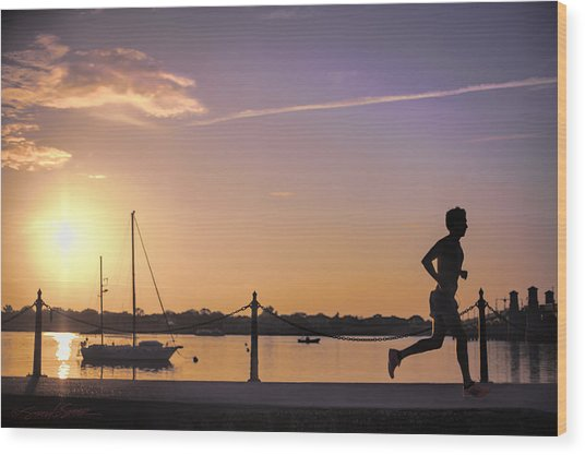Sunrise Bayfront Runner Wood Print