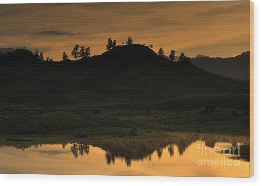 Sunrise Behind A Yellowstone Ridge Wood Print