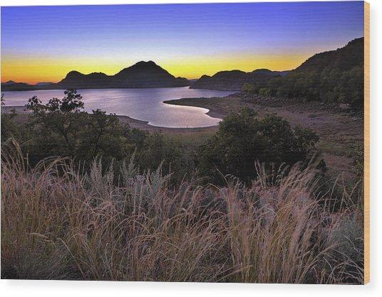 Sunrise Behind The Quartz Mountains - Oklahoma - Lake Altus Wood Print