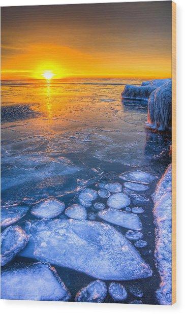 Sunrise Chicago Lake Michigan 1-30-14 02 Wood Print by Michael  Bennett