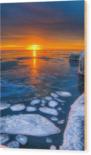 Sunrise Chicago Lake Michigan 1-30-14 04 Wood Print by Michael  Bennett