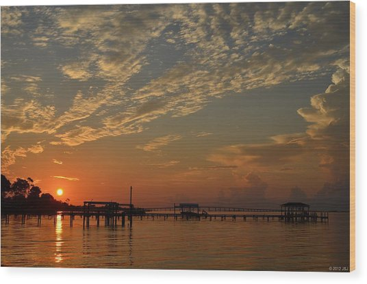 Sunrise Colors With Storms Building On Sound Wood Print