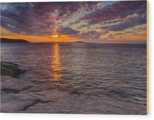 Sunrise Drama Acadia National Park Wood Print