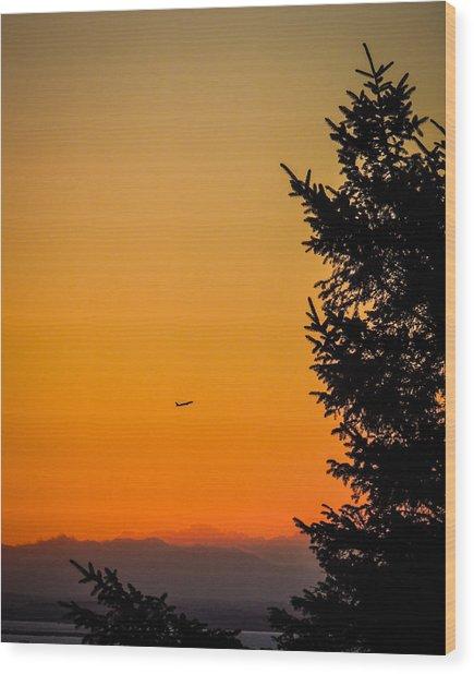 Sunrise Flight Departing Shannon Airport Wood Print