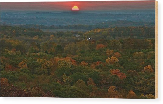 Sunrise From Atop Wood Print by Julie Franco