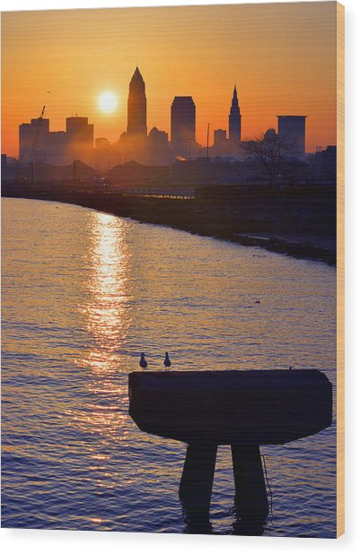 Sunrise From Edgewater Wood Print