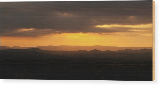Sunrise From Enchanted Rock Wood Print