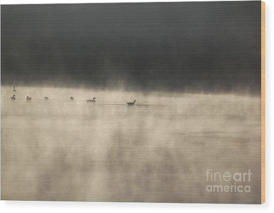 Sunrise Geese Wood Print