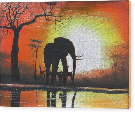Sunrise In Africa Wood Print