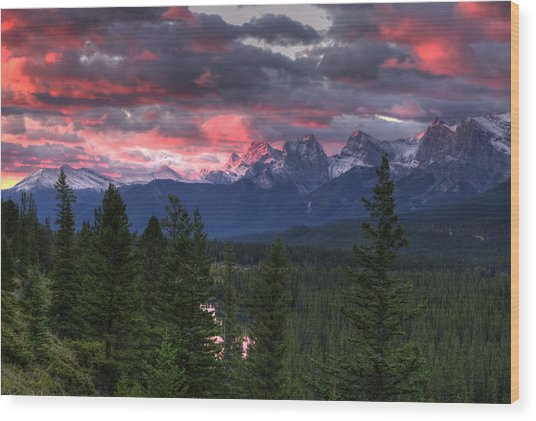 Sunrise In Banff Wood Print
