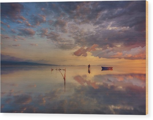 Sunrise In Delta Del Ebre Wood Print