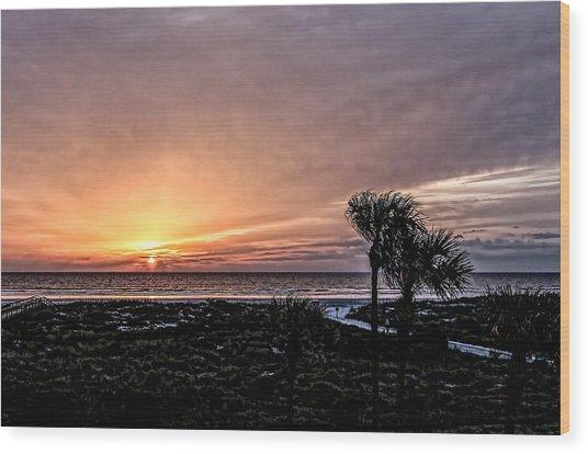 Sunrise In Orange Wood Print by Christina Manassa