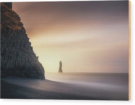Sunrise In Reynisfjara Wood Print