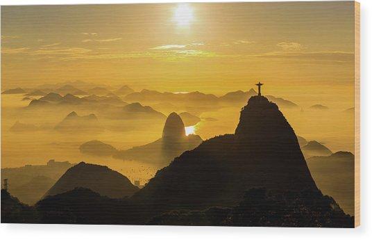 Sunrise In Rio De Janeiro Wood Print by Flavio Veloso