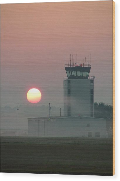 Sunrise In The Fog At East Texas Regional Airport Wood Print